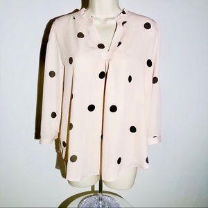 Worthington V-Neck Top PL Petite Pink Polka Dots